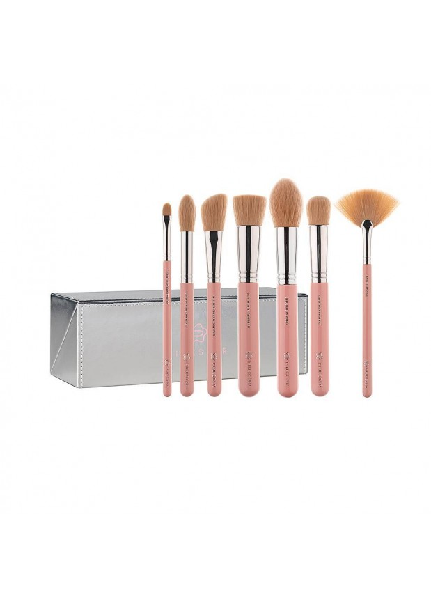 Pink Star Cosmetics Luxe Face Must Brush Set Silver
