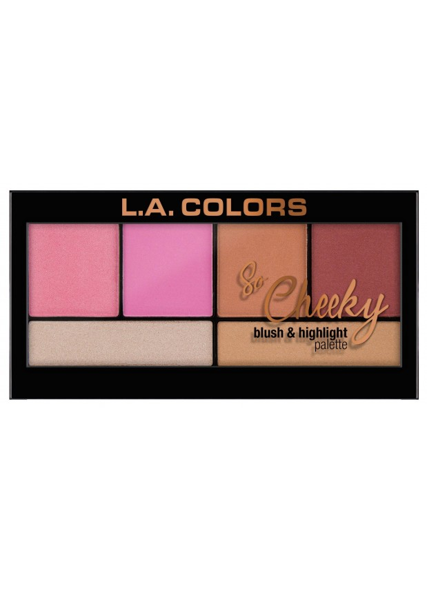 L.A.Colors So Cheeky Blush and Highlight palette-Pink and Playful Палетка хайлайтеров и румян для лица