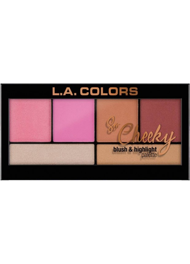 L.A.Colors So Cheeky Blush and Highlight palette-Pink and Playful Палетка хайлайтеров и румян для лица