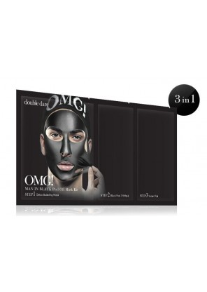 Double Dare OMG! Man In Black Peel Off Mask Kit! Комплекс мужских масок трехкомпонентный «Смягчение и восстановление»