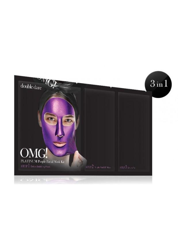 Double Dare OMG! Platinum PURPLE Facial Mask Kit ! Комплекс масок трехкомпонентный «Глубокое увлажнение и релакс»